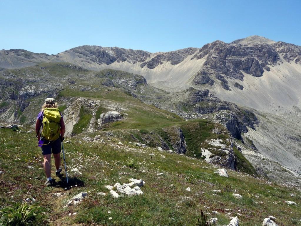Trekking towards Monte Velino on a pleasantly green ridge