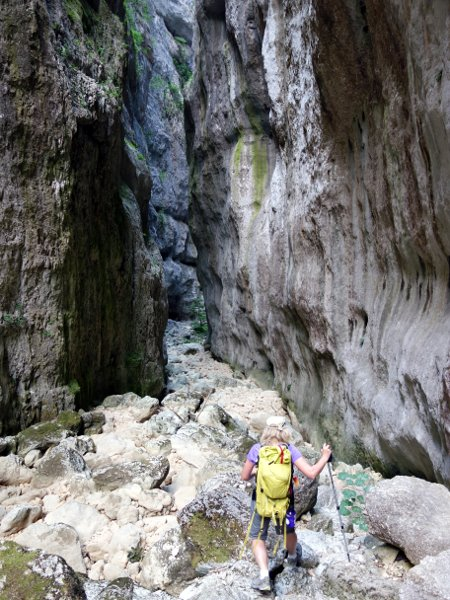 On a dry river bed in the Celano Gorge