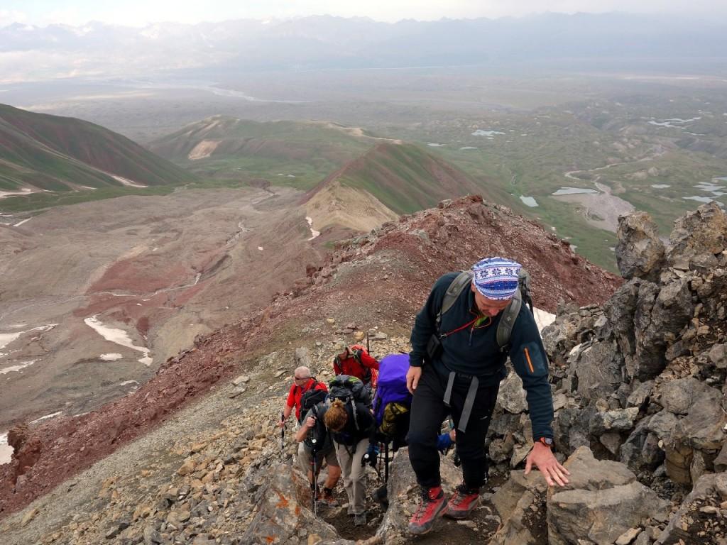 Scrambling up to Petrovsky Peak