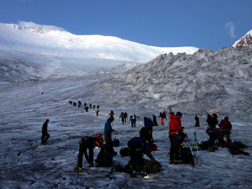 At crampon point on the Lenin Glacier on the morning of the Lenin Race