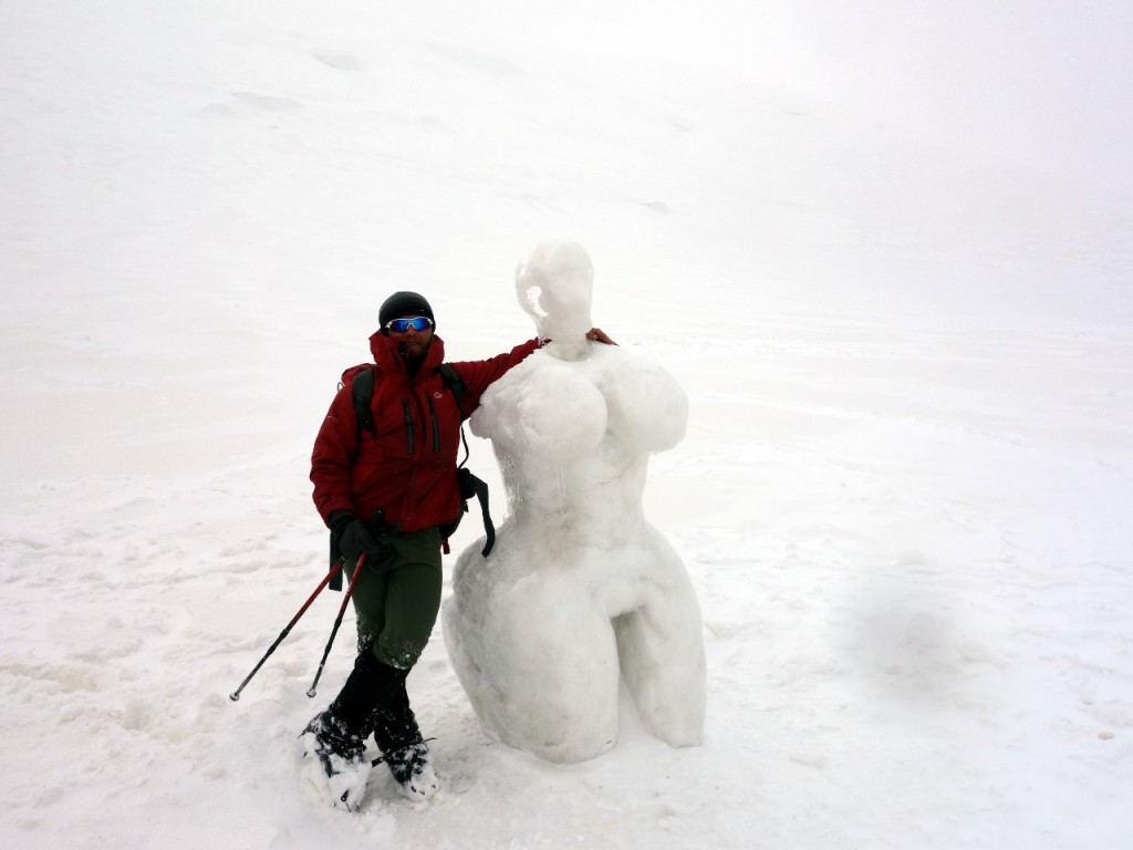 An unusual ice sculpture on the saddle below Camp 3 became a popular location for photos