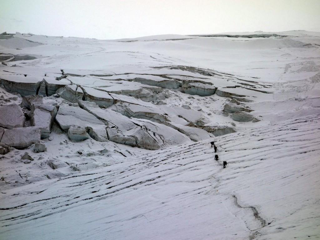 Dry glacier above crampon point
