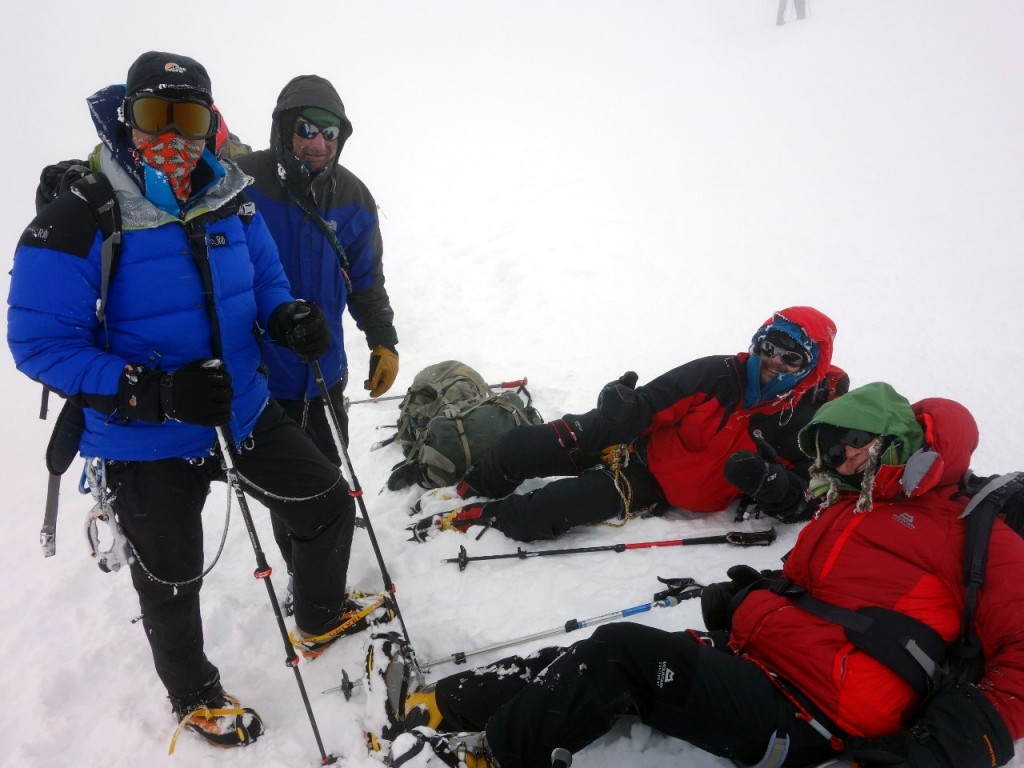 Ron, Mike, Cormac and Bee in a whiteout on a snow plateau at 6900m