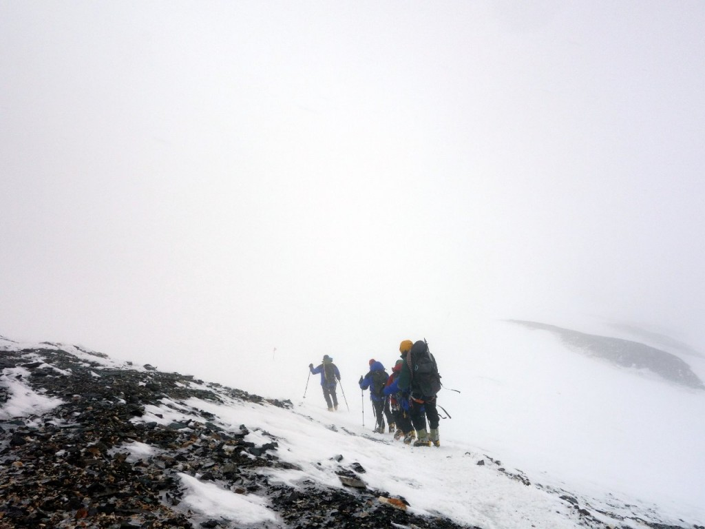 Fighting through a summit day blizzard