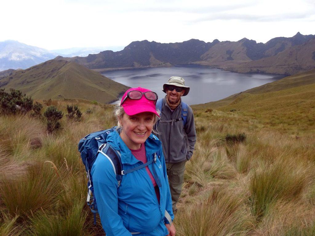 Edita and Pablo on the ascent of Fuya Fuya, with Laguna Mojanda behind