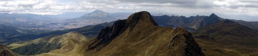 Panorama of Imbabura (back) the second summit of Fuya Fuya and the Mojanda massif from the main summit of Fuya Fuya