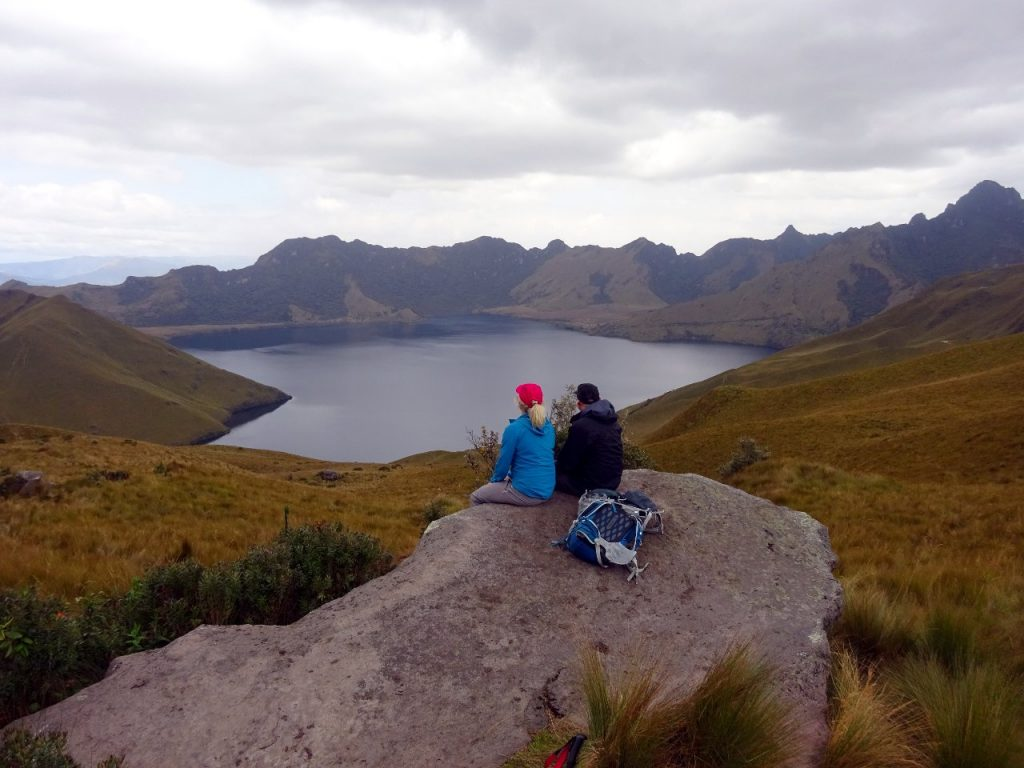 Looking out over Laguna Mojanda during the descent