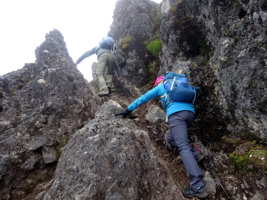 Easy scrambling up to the first summit