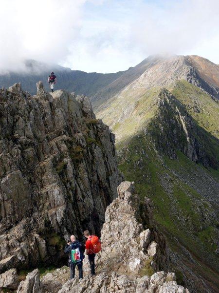 Crossing jagged pinnacles on the ridge