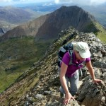 Scrambling along Crib y Ddysgl, with Crib Goch behind