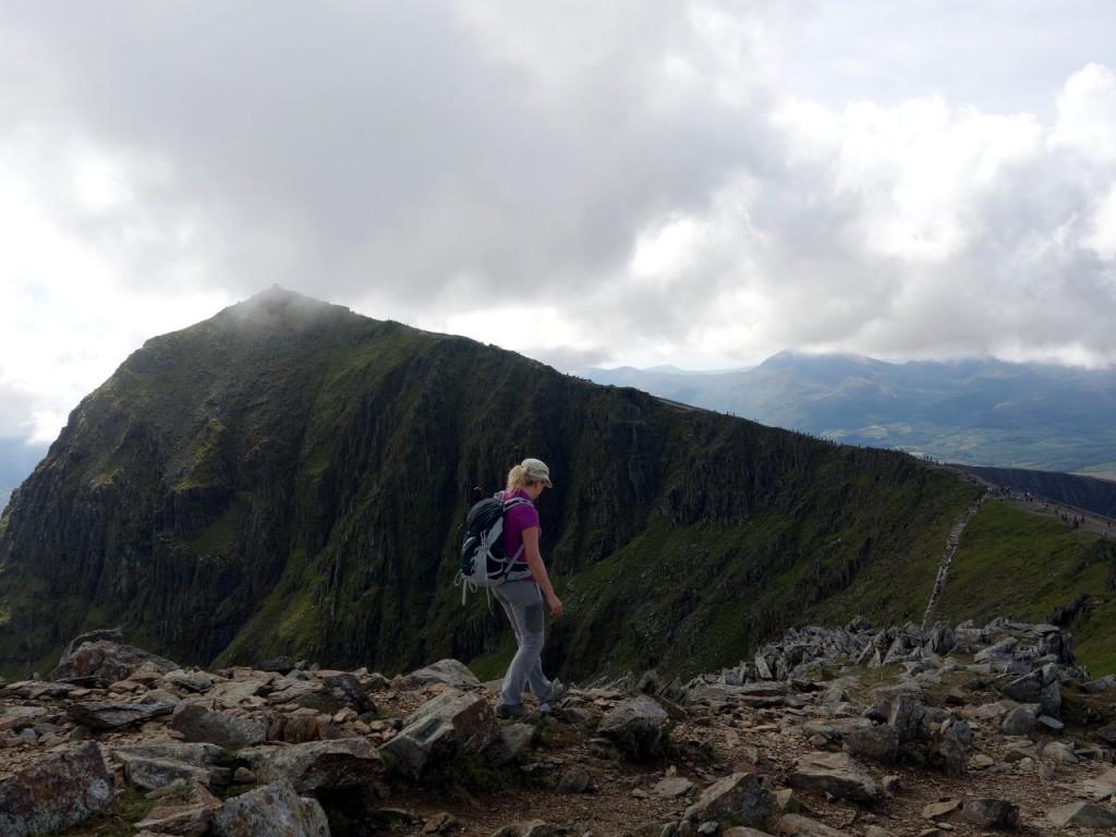 Descending from Garnedd Ugain, with Snowdon summit behind