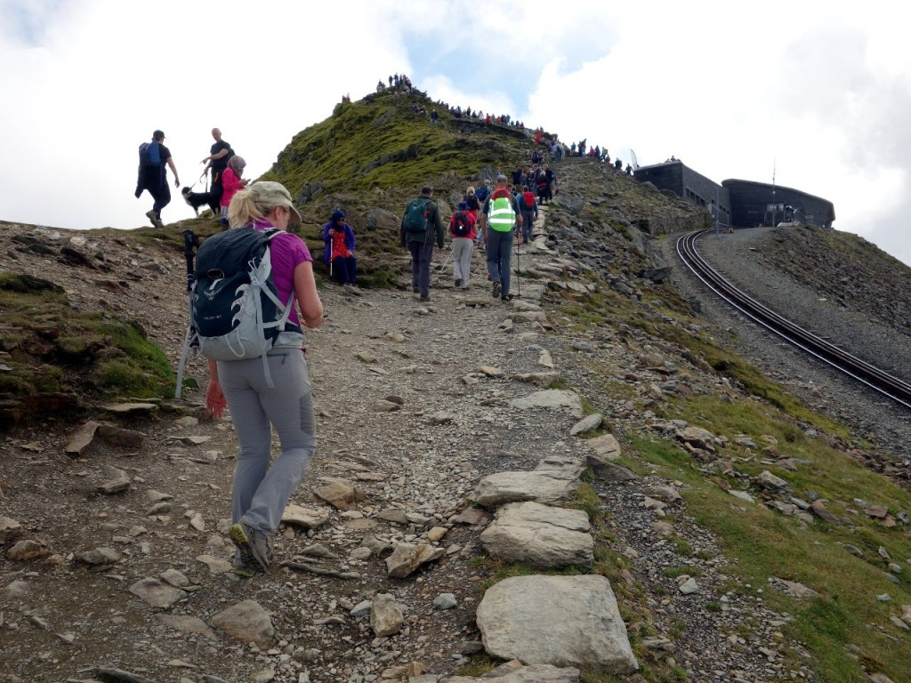 With the crowds alongside the railway line up to Snowdon summit