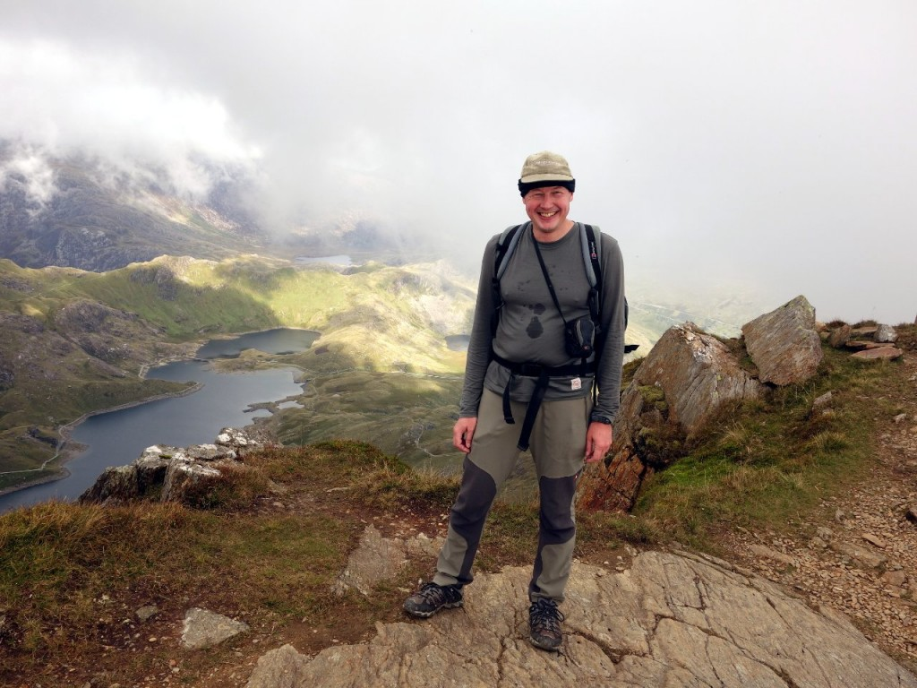 Me on the East Peak of Y Lliwedd, with Llyn Llydaw down below