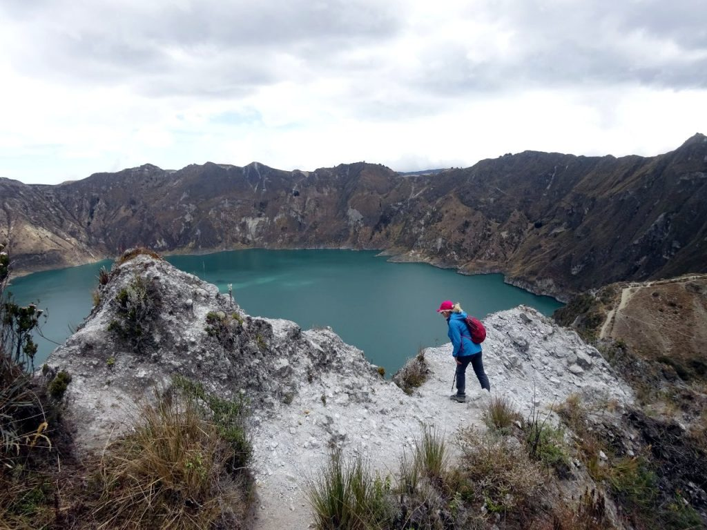 Staring down into Quilotoa's volcanic crater