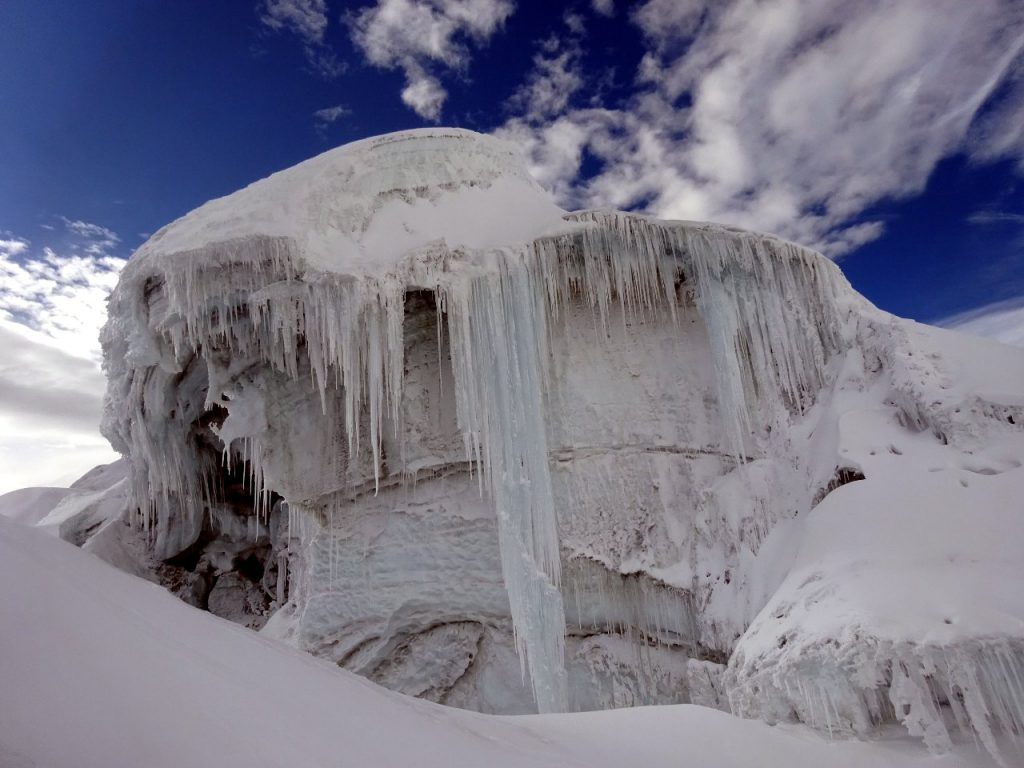 Fluted ice organ on the slopes of Cotopaxi