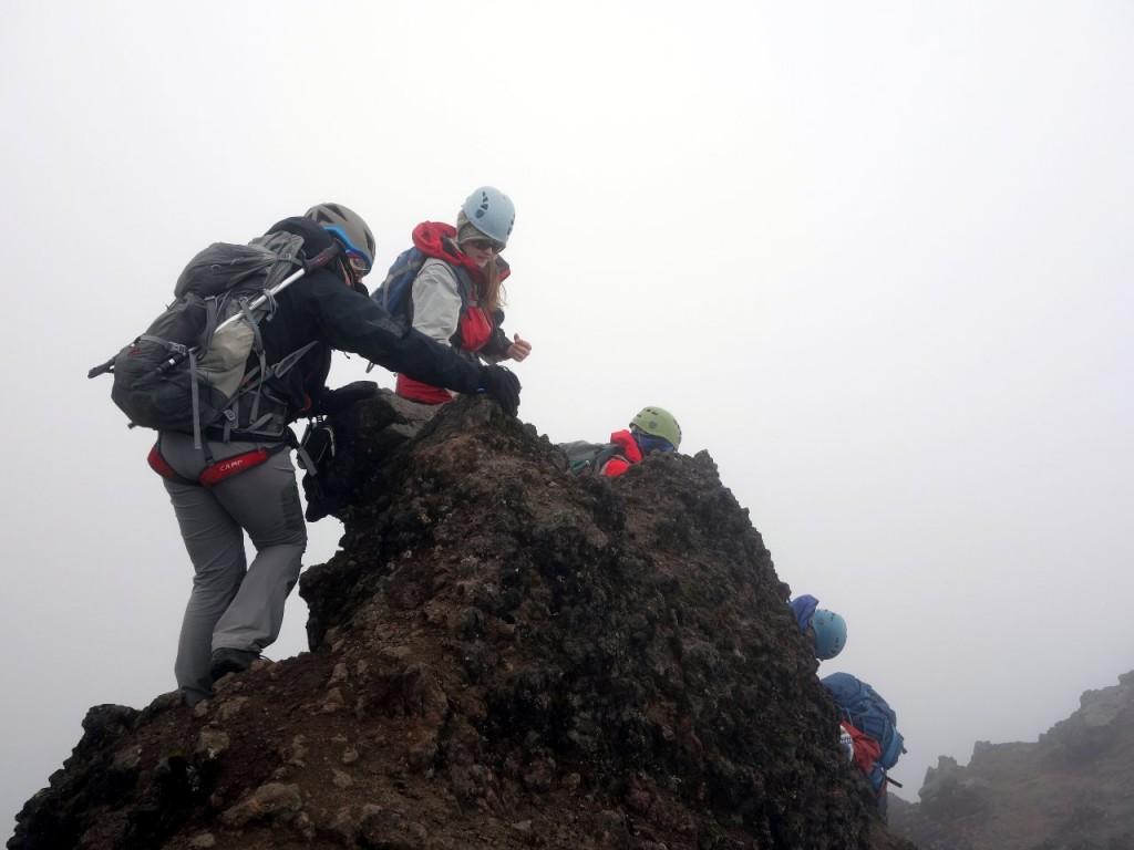 Scrambling round a rocky outcrop on Corazon