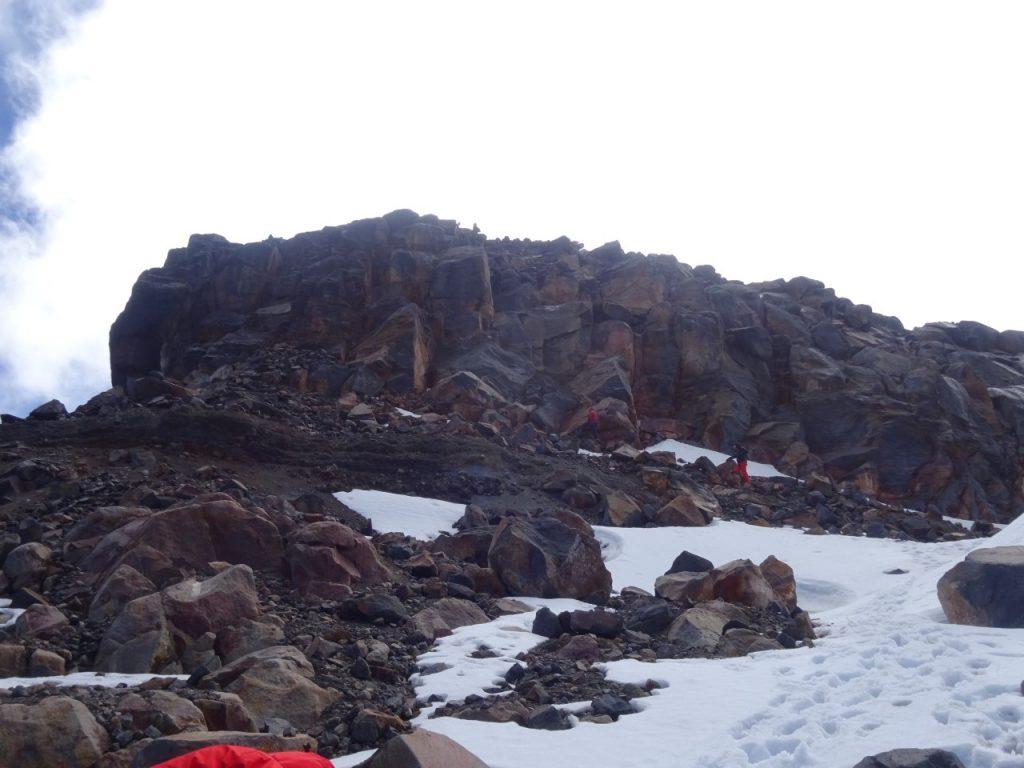 The summit block of Nevada Santa Isabel - a technical rock climb, not a scramble