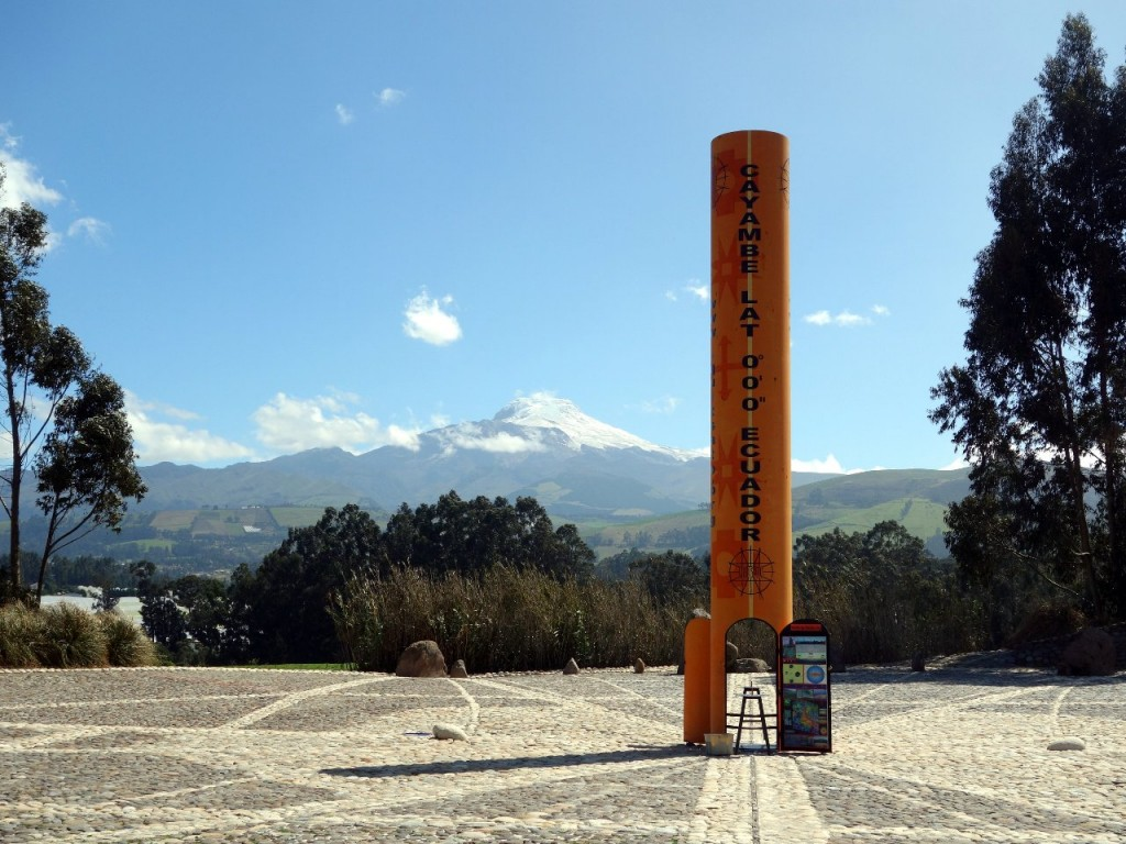 Line of the Equator at La Mitad del Mundo, with Cayambe behind