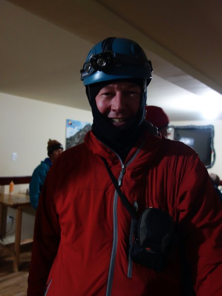 Looking wide awake for a night time departure from Refugio Carrel