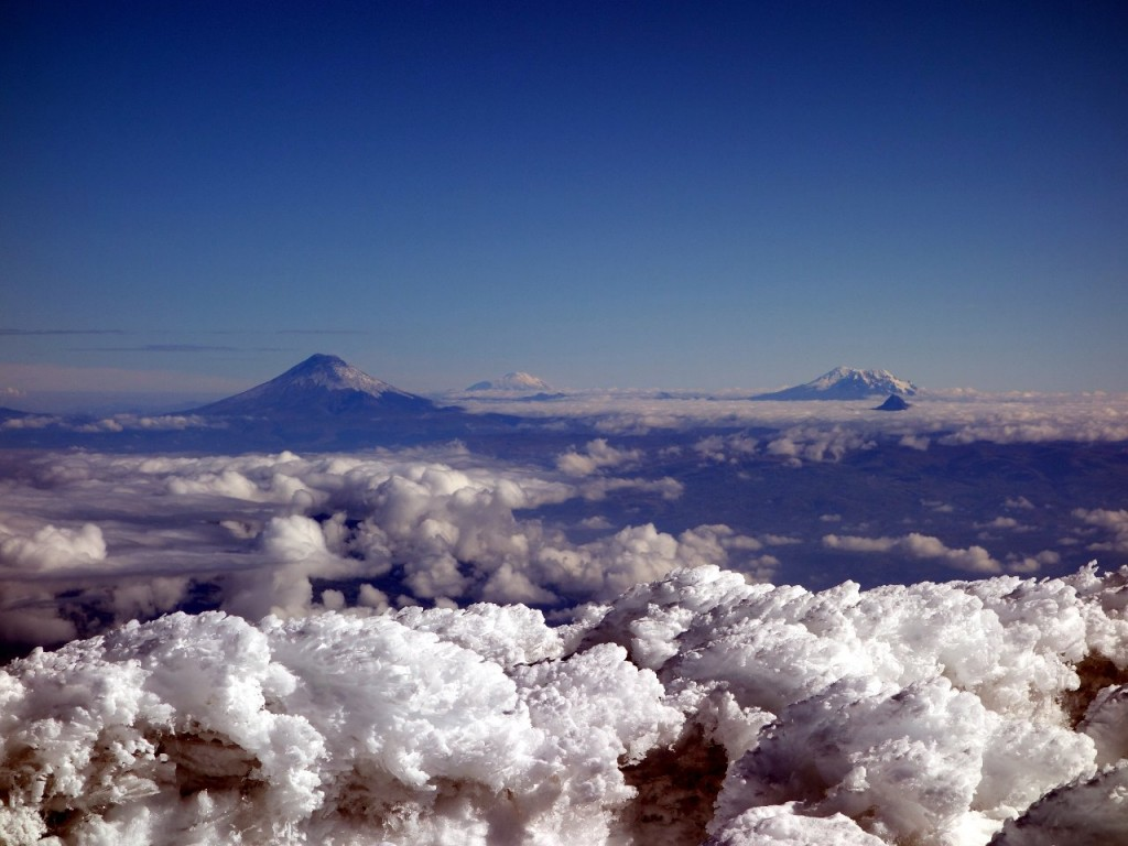 Cotopaxi, Cayambe and Antisana from the summit of Chimborazo