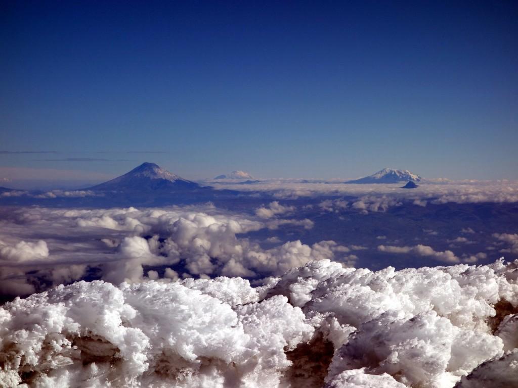 Cotopaxi, Cayambe and Antisana from the summit of Chimborazo