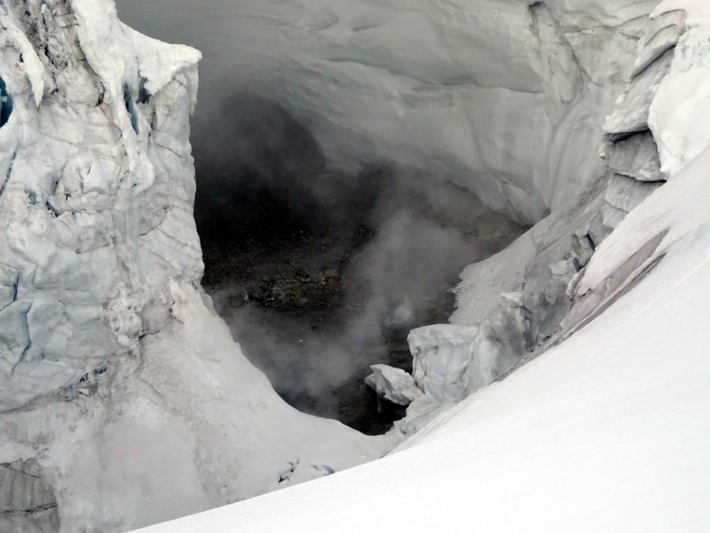 View inside a bubbling, spewing volcano