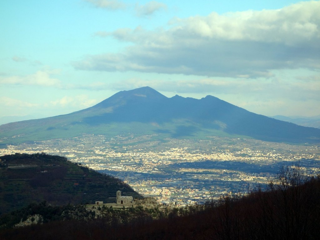 Vesuvius rises above Naples and Pompeii