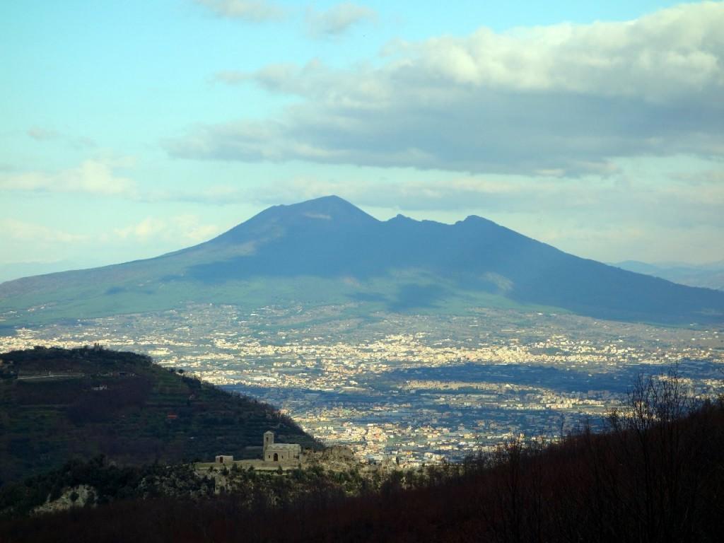 Vesuvius rises above Naples and Pompeii