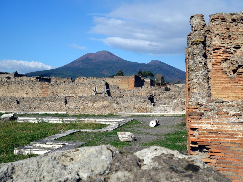 From the ruins of Pompeii, Vesuvius looks particularly threatening