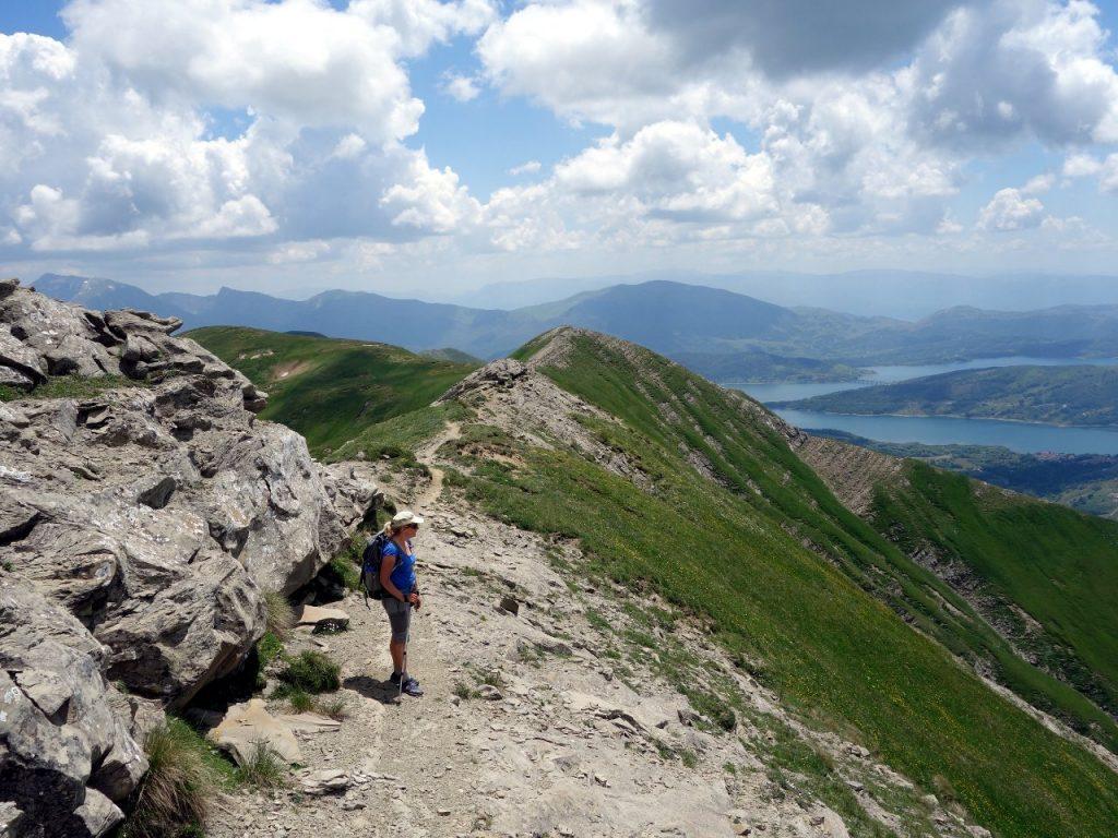 On the Monti della Laga ridge, with Lago di Campotosto below