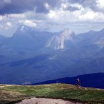 Arriving on the summit of Monte Gorzano, with the Gran Sasso massif behind