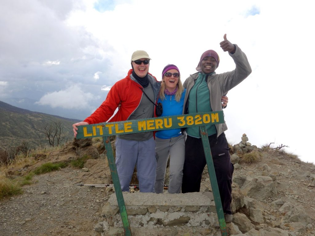 Me, Edita and Joseph on the summit of Little Meru, a grassy knoll an hour above Saddle Huts