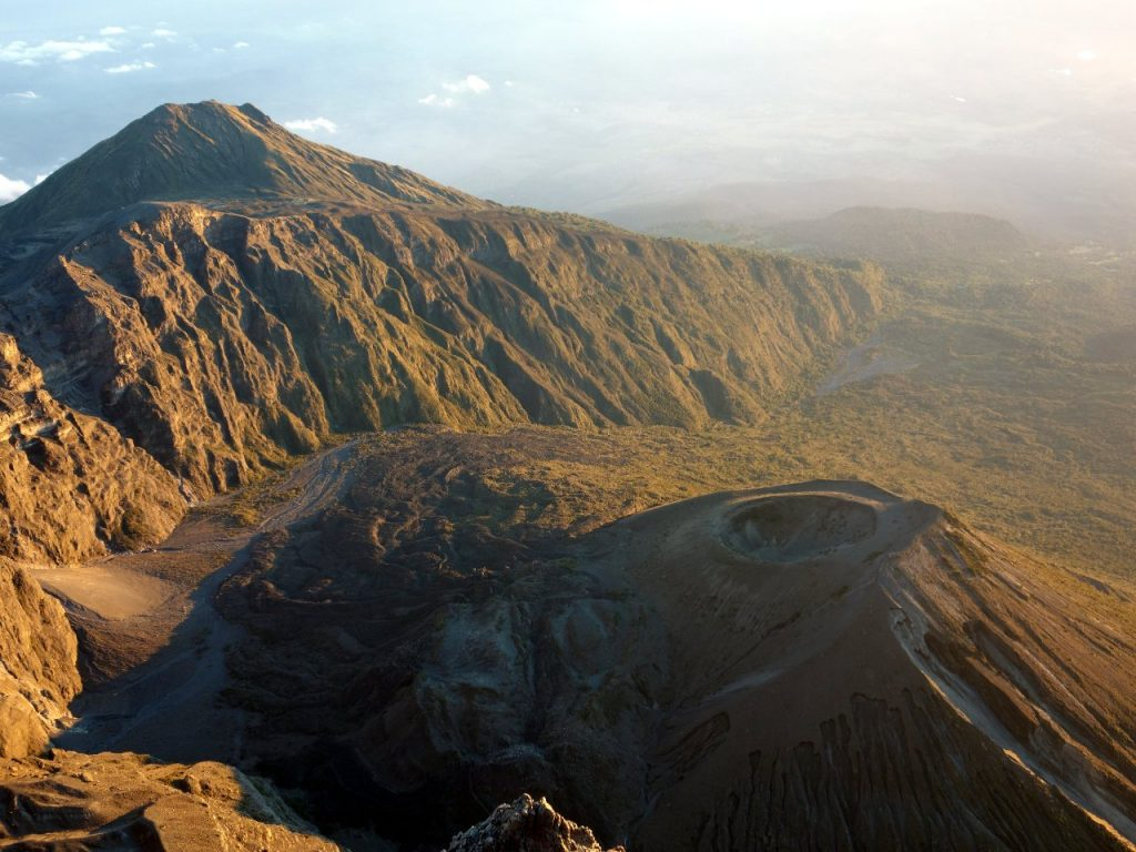 Little Meru and the ash cone from the summit of Mount Meru