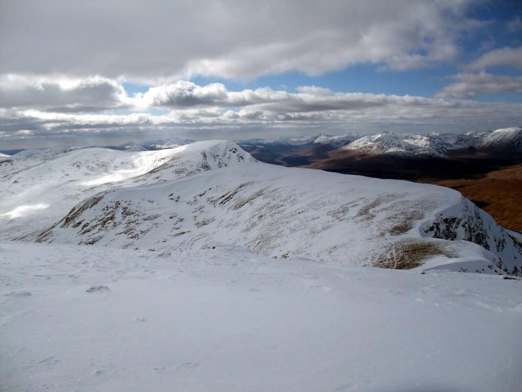 Looking back across Meall Buidhe to Beinn Achaladair from the summit of Beinn a Chreachain
