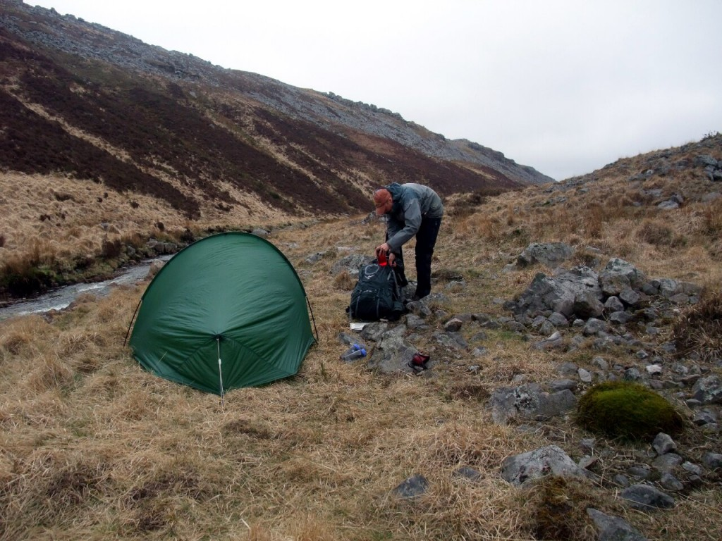 My wild camp in a cleft beside the Afon Twrch