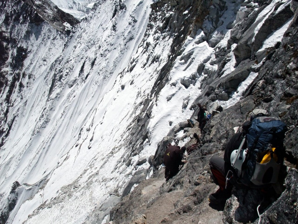 Steep descent from the Amphu Labtse, not for the faint-hearted