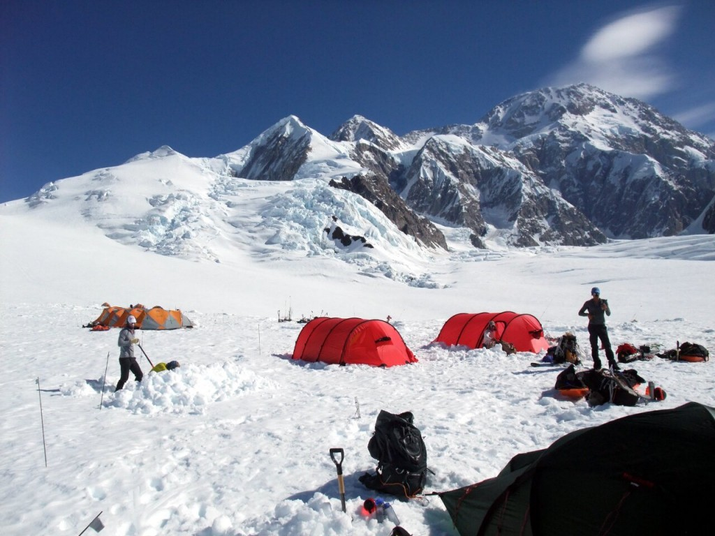 Denali's West Buttress route seen from Camp 1 on the Kahiltna Glacier. 92% of people climb Denali by this route. Does the concession system encourage this?