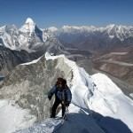 Siling Ghale of The Responsible Travellers on Island Peak's fantastic knife-edge summit ridge