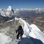 Siling Ghale of The Responsible Travellers on Island Peak's fantastic knife-edge summit ridge