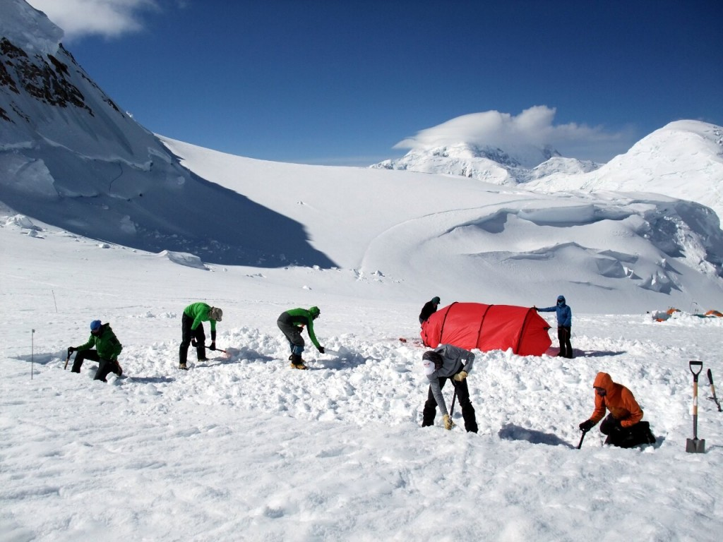 Whether an independent climber or a commercial client you'll be digging your own tent platform, pitching your own tent, and dragging your own sledge regardless
