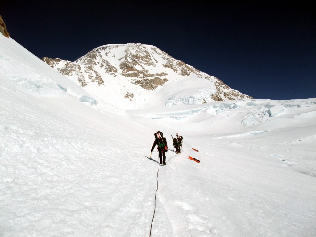 Damn those sledges! Rounding Windy Corner on Denali's West Buttress route, with the summit up ahead