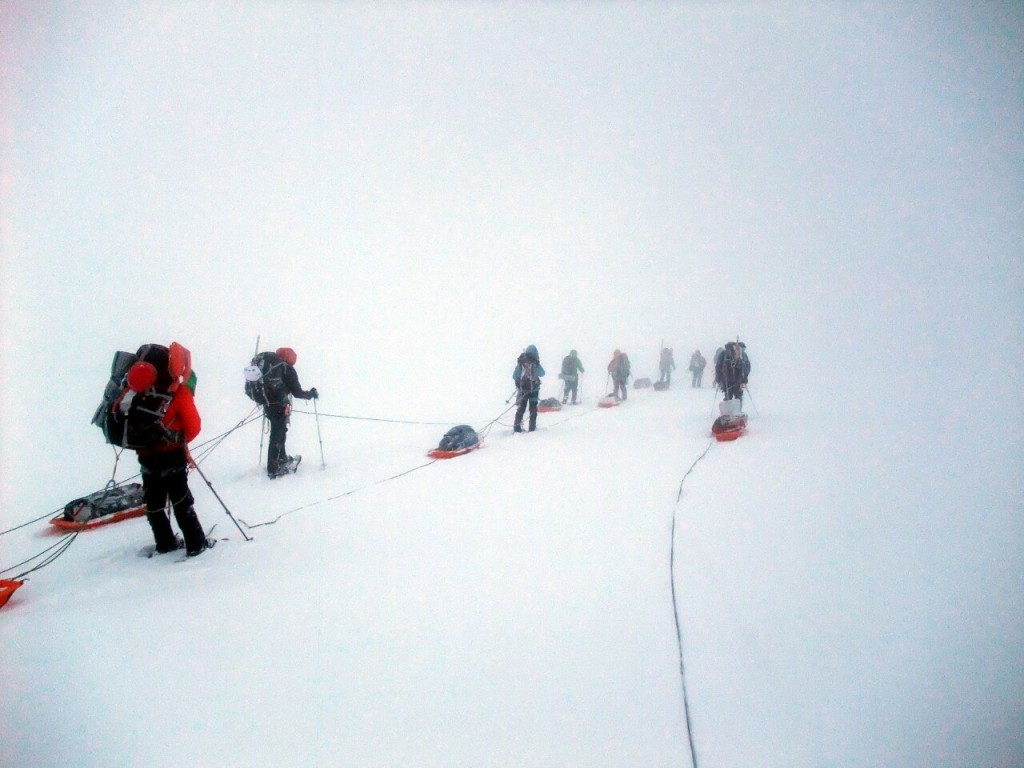 Total whiteout during the descent between Camps 2 and 1