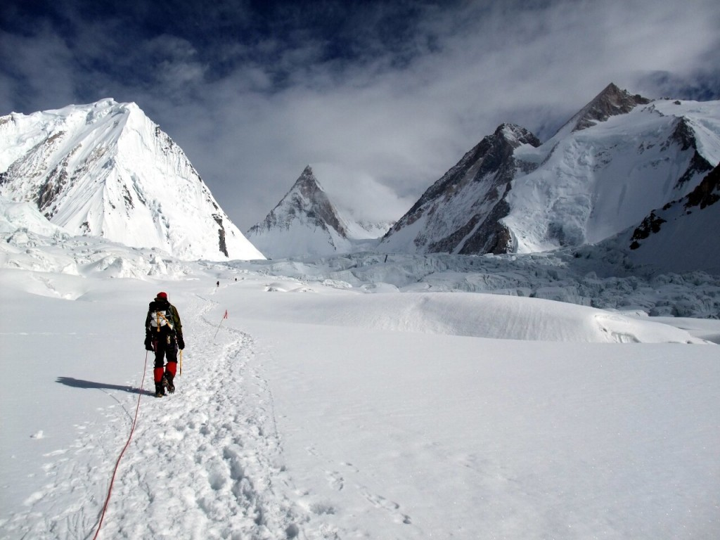 High altitude mountaineering tends to involve a lot of walking on glaciers while roped together