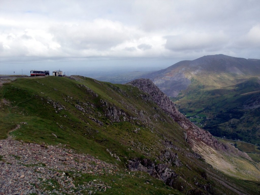 Spectacularly situated Clogwyn Station on the Snowdon Mountain Railway