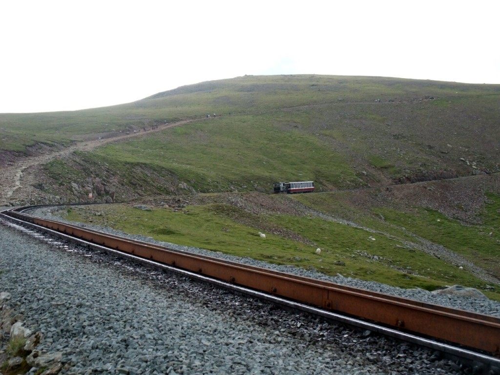Snowdon Mountain Railway above Clogwyn Station, with the Llanberis Path climbing parallel above