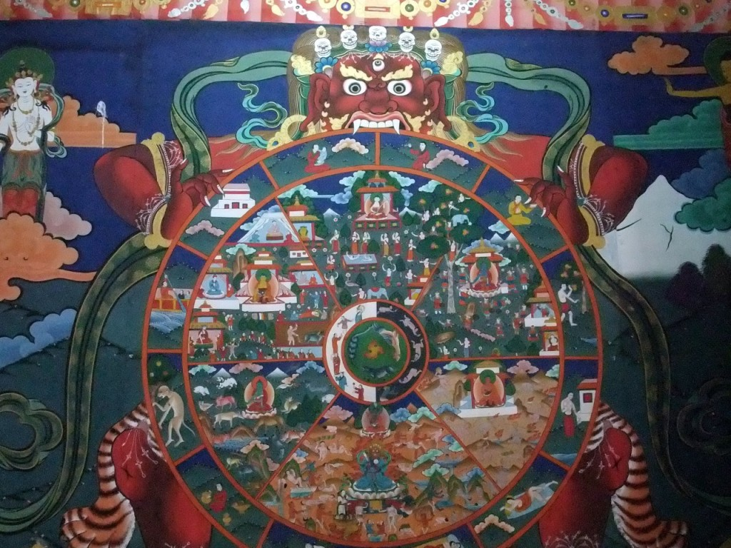 The Buddhist Wheel of Life, as depicted in Paro Dzong, Bhutan
