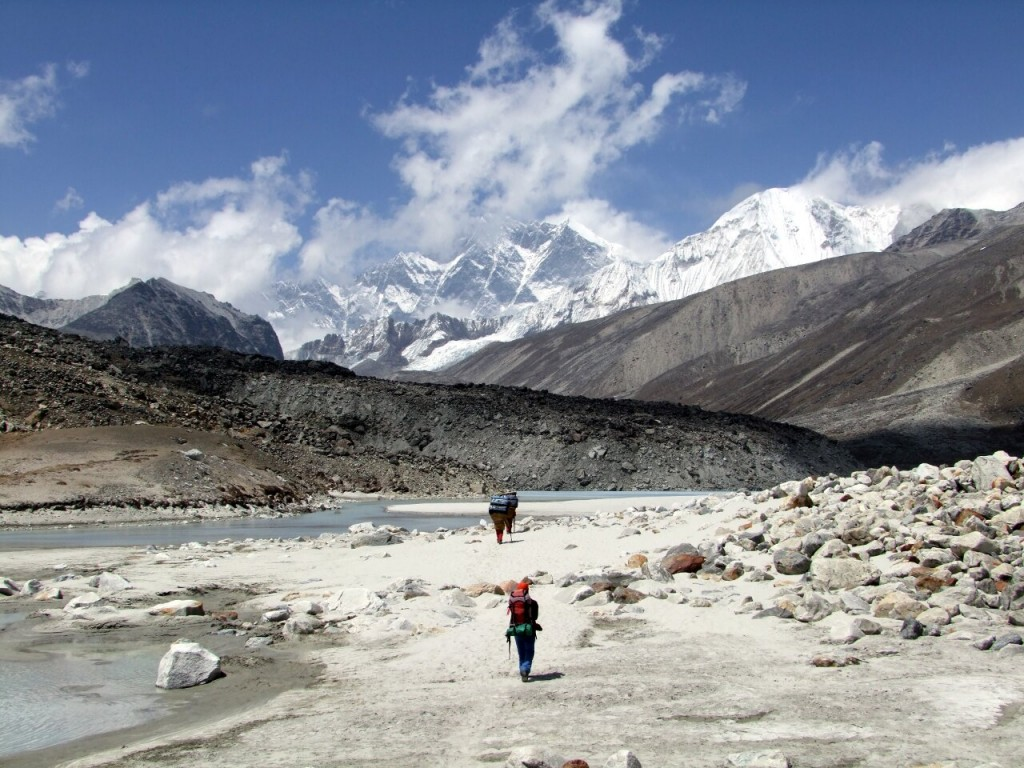 Crossing a beach in the Hongu Valley, with the south face of Lhotse rising up behind