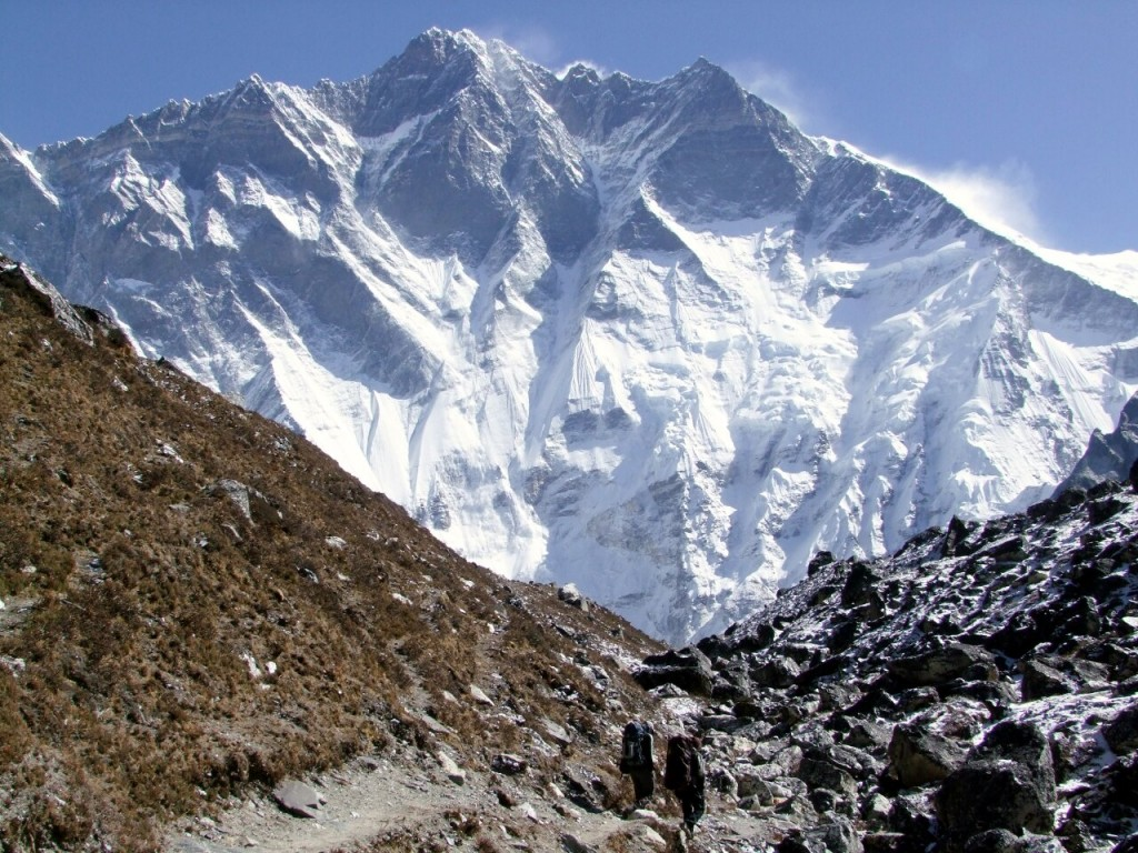 The gigantic South Face of Lhotse from the Imja Valley. Not too many people have been up this way.