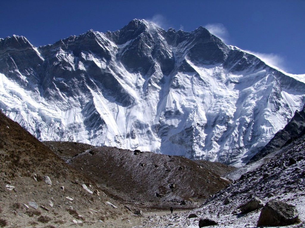 The South Face of Lhotse from the base of Island Peak. Hillary Peak is likely to be the high point in the far left of the photo.