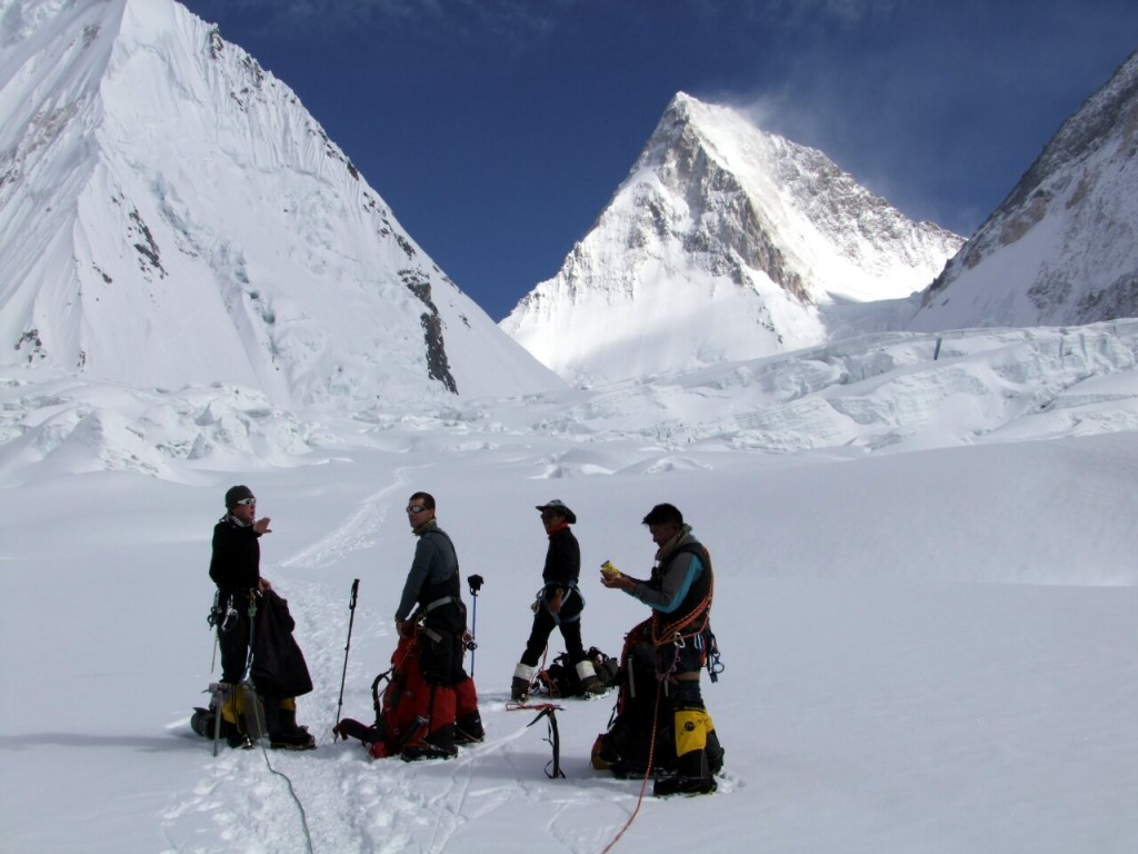 Phil Crampton (left) with team members on the South Gasherbrum Glacier
